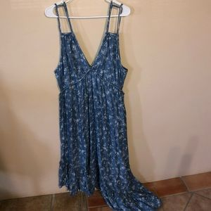 Blue floral dress with cutouts